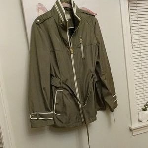 NWT MICHAEL Michael Kors Green Army Jacket Rain L